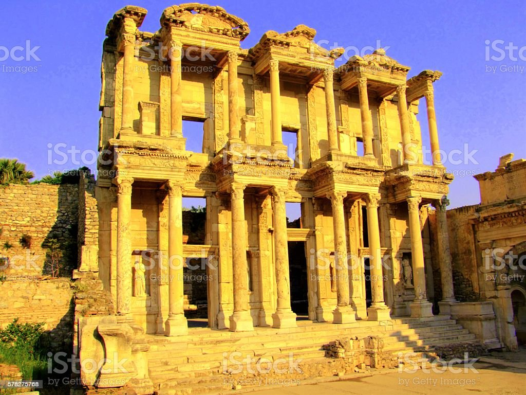Roman Library of Celsus, Turkey stock photo