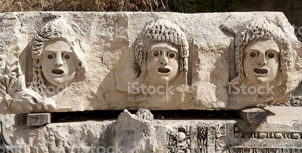 Roman Masks,  Myra, Antalya stock photo