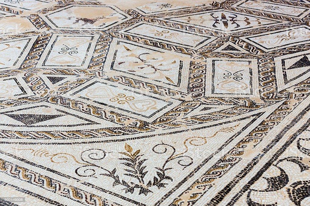 Roman mosaic in Italica stock photo