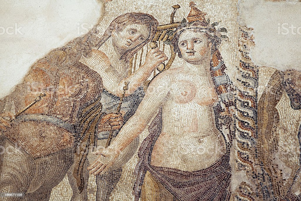 Roman Mosaic in Pafos, Cyprus royalty-free stock photo