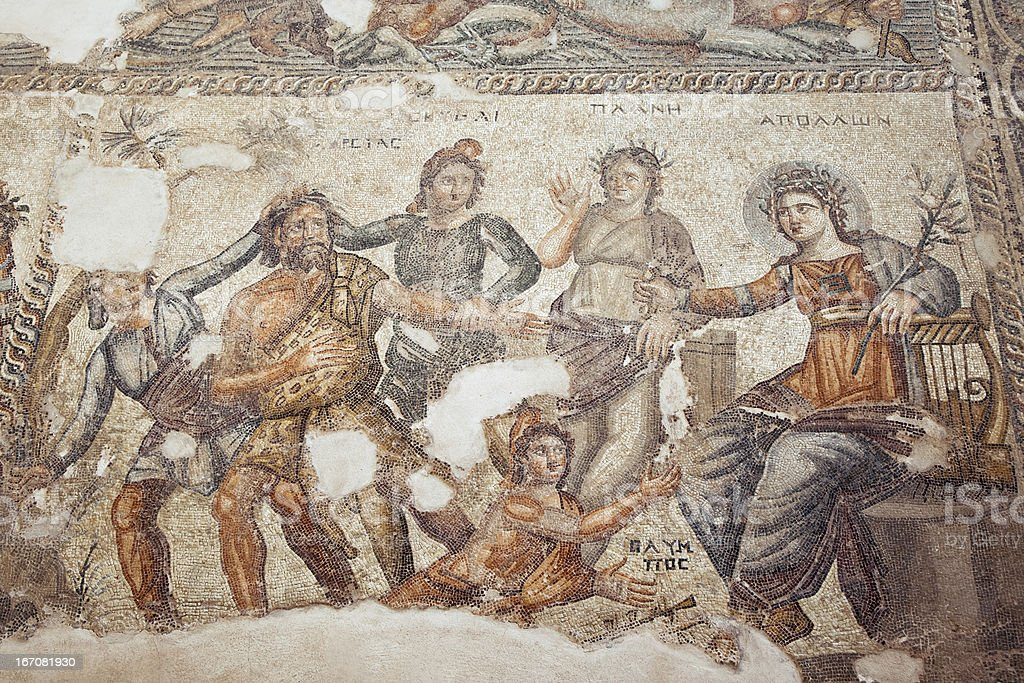 Roman mosaic in Paphos, Cyprus royalty-free stock photo