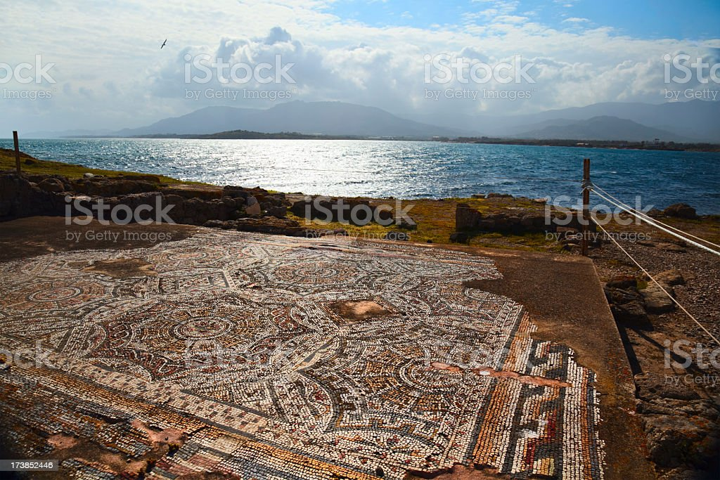 Roman mosaic near Nora royalty-free stock photo