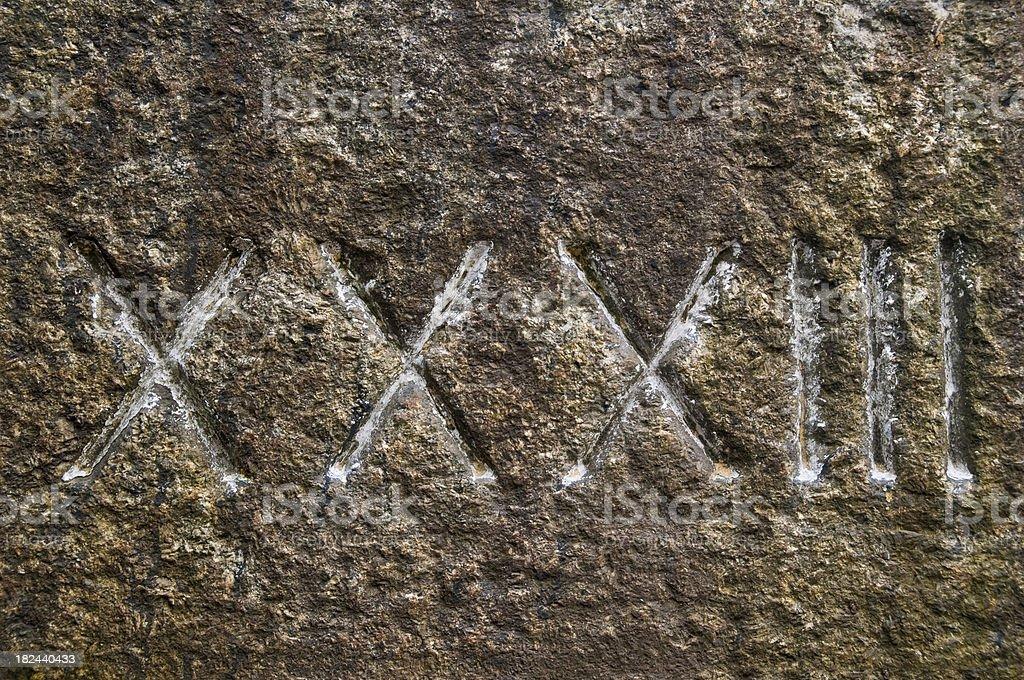 Roman numeral 33 stock photo
