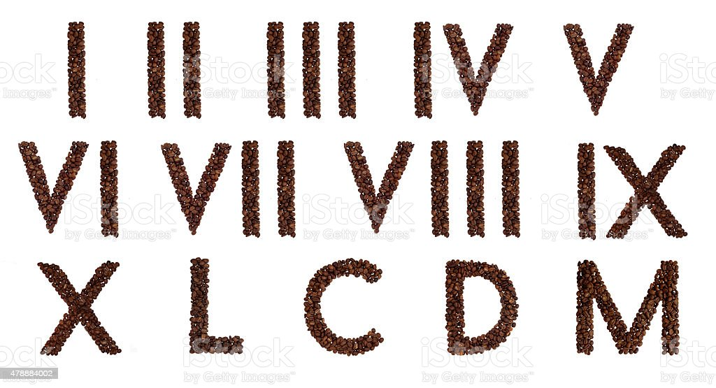 Roman numerals out of coffee stock photo