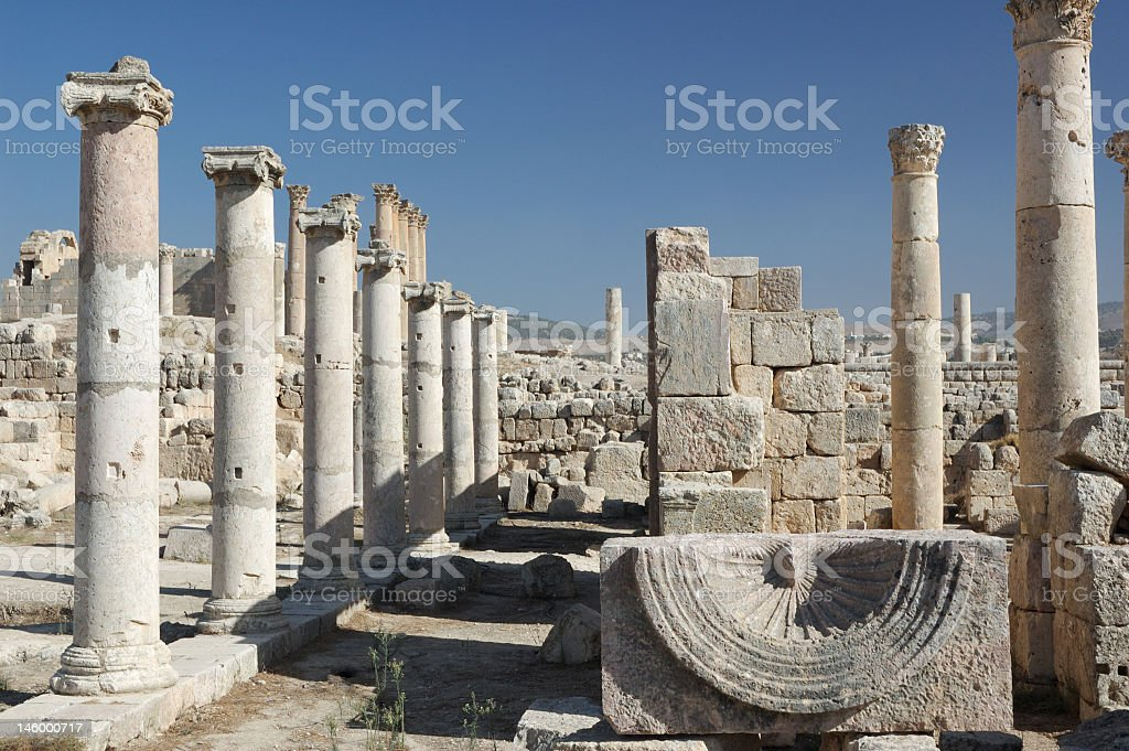 Roman old city, column detail - Jerash stock photo