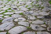 roman paved stone street close up detail