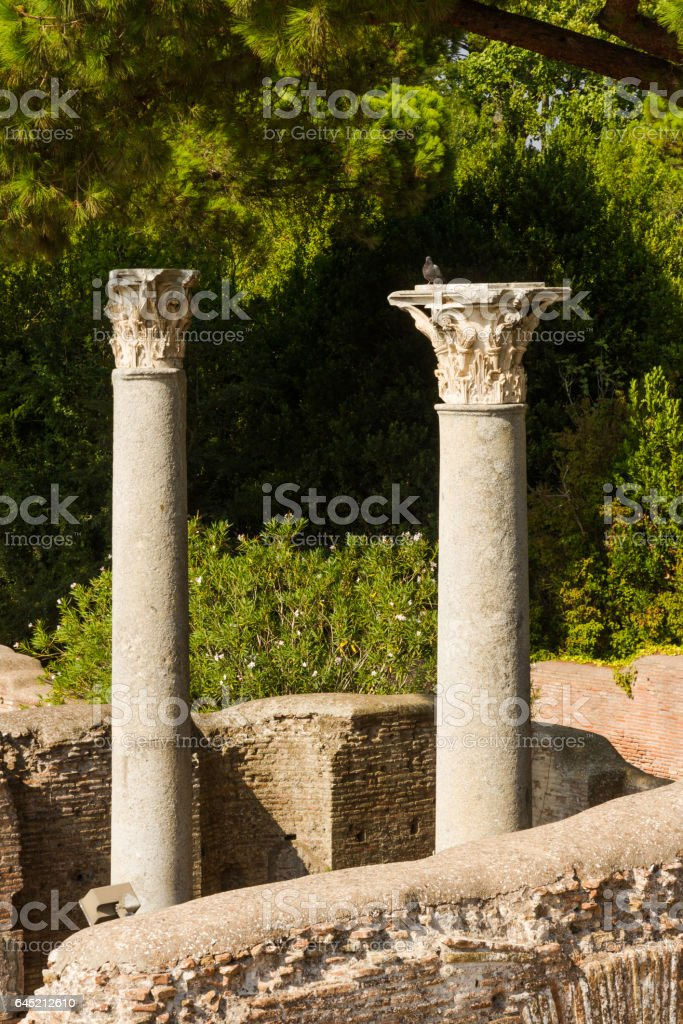 Roman pillars at Ostia Antica Italy stock photo