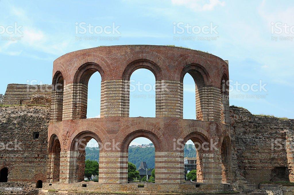 Roman public bath Kaiserthermen in Trier (Germany) stock photo