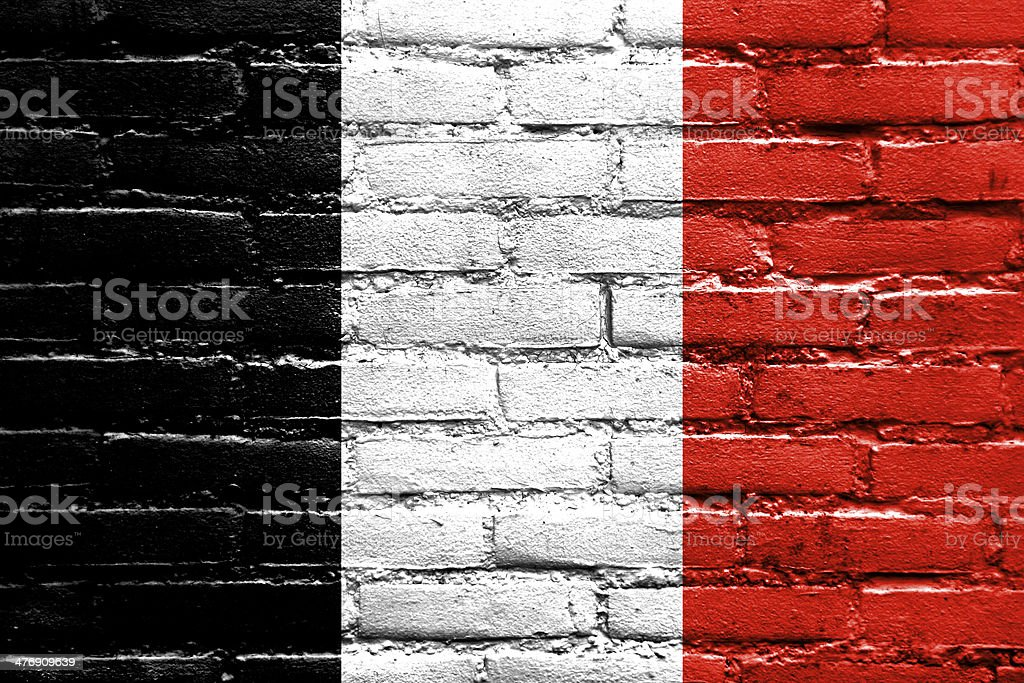 Roman Republic Flag in 1798 painted on brick wall stock photo