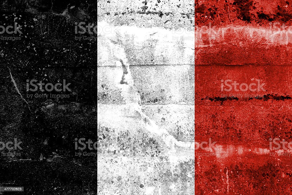 Roman Republic Flag in 1798 painted on grunge wall stock photo