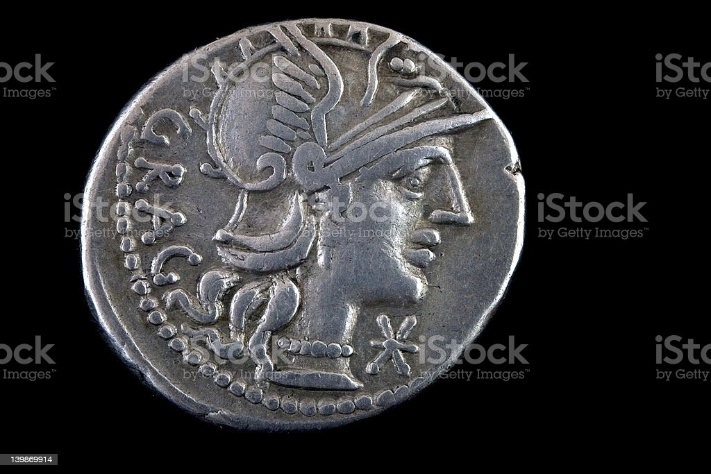 Roman republican coin ,136 BCE royalty-free stock photo
