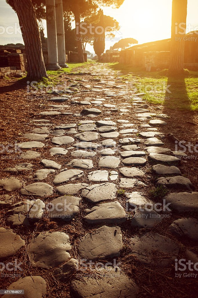 Roman Road at Ostia Antica Archeological Site stock photo