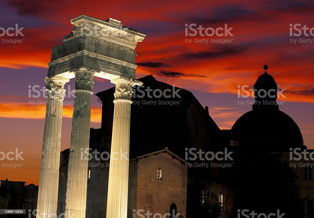 Roman ruines with cupola and sunset royalty-free stock photo