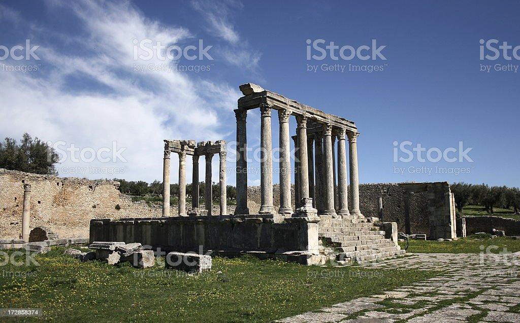 Roman ruins at Dougga stock photo
