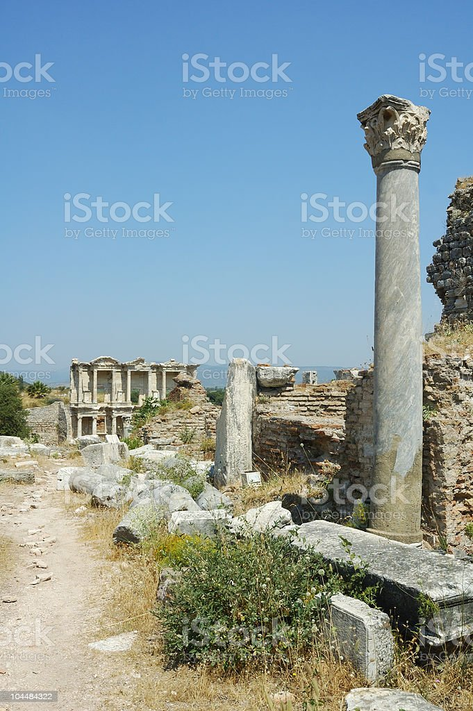 Roman ruins at Ephesus in Turkey royalty-free stock photo