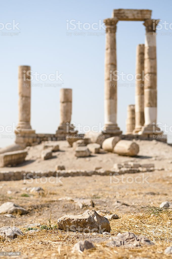 Roman ruins in Amman Jordan royalty-free stock photo