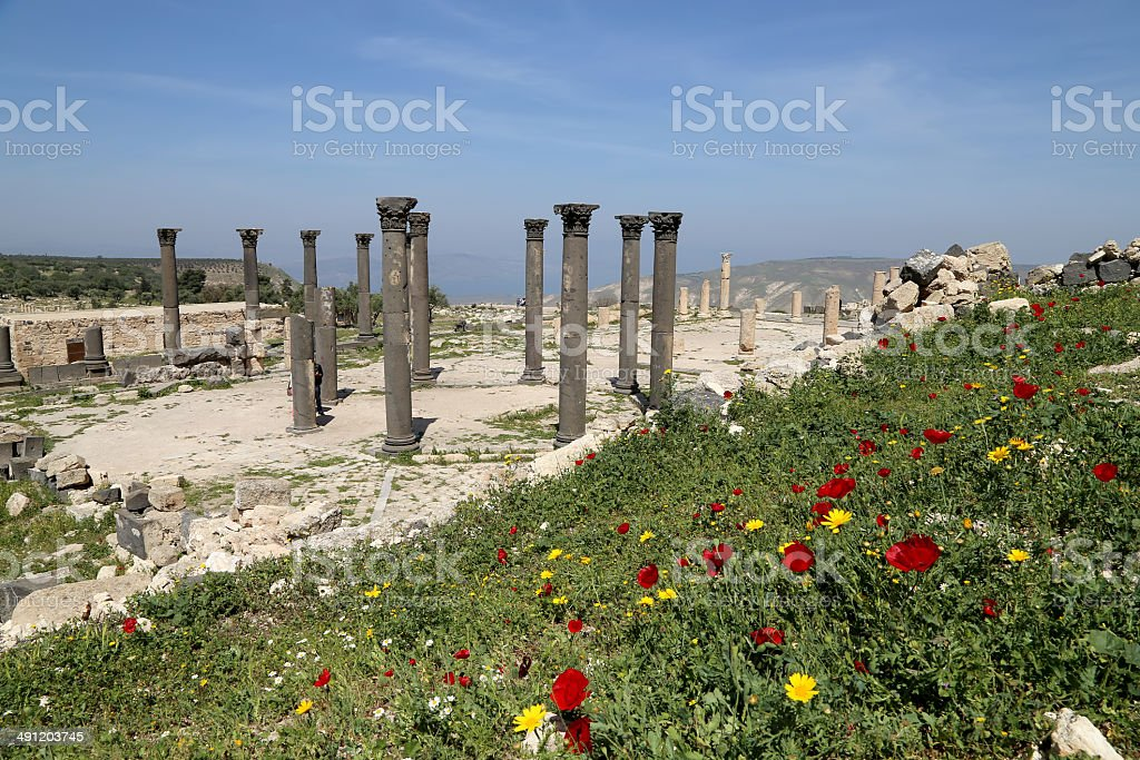 Roman ruins at Umm Qais (Umm Qays), Jordan stock photo