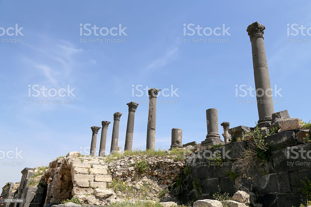 Roman ruins at Umm Qais (Umm Qays) --Jordan stock photo