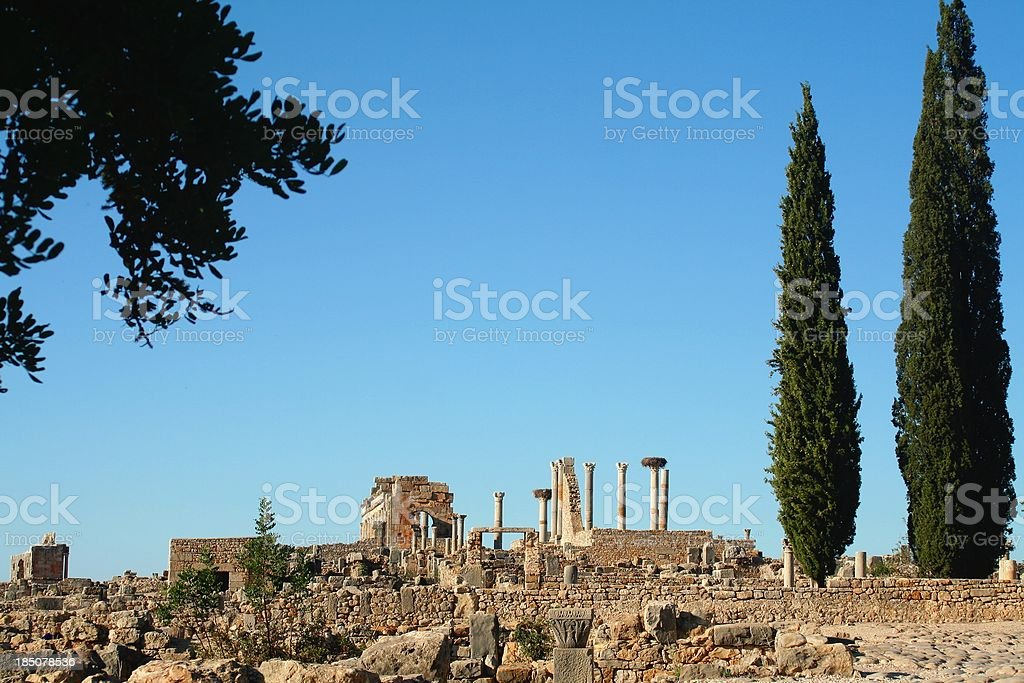 Roman ruins at Volubilis. Morocco stock photo