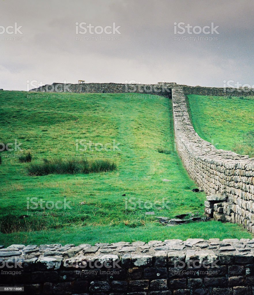 Roman, ruins, fort, Housesteads, Hadrians Wall, England, historic, ancient stock photo