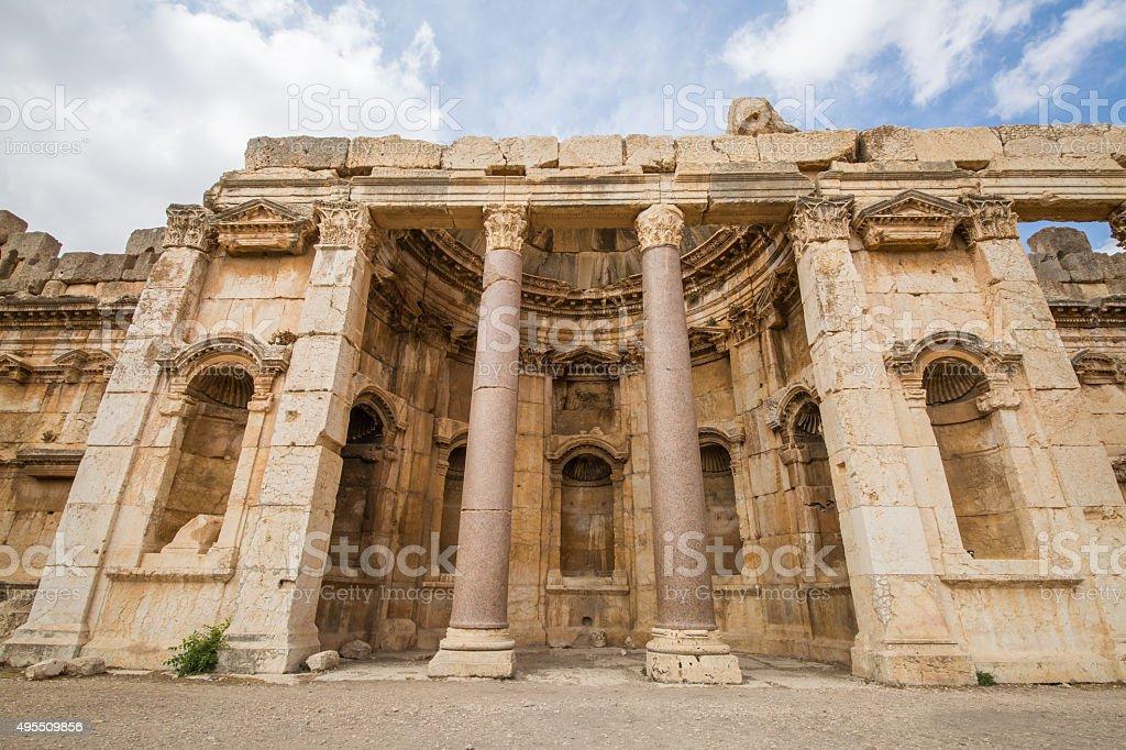 Roman ruins in Baalbek stock photo
