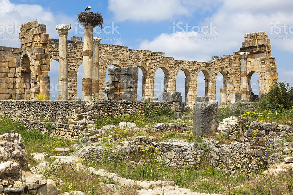 Roman Ruins in Morocco stock photo
