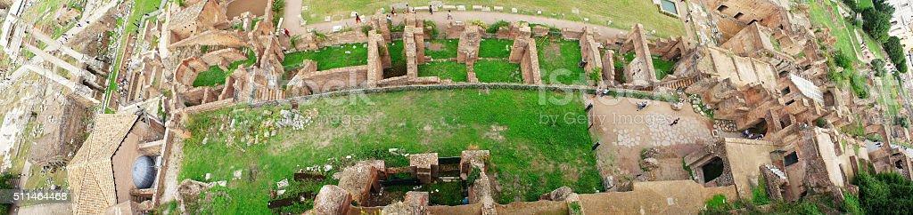 Roman ruins in Rome, Forum, Panorama stock photo