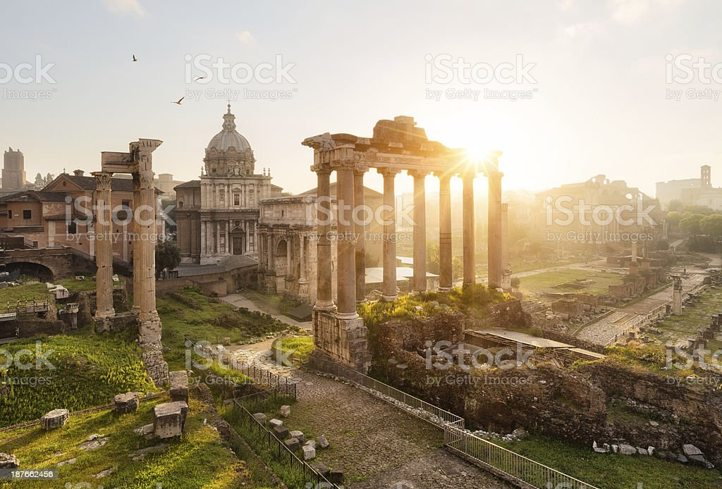 Roman ruins in Rome, Forum stock photo