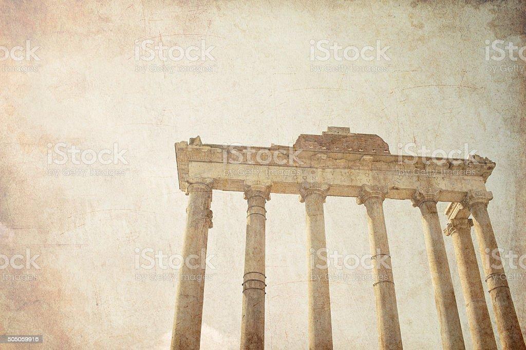 Roman ruins in Rome, Forum stock photo