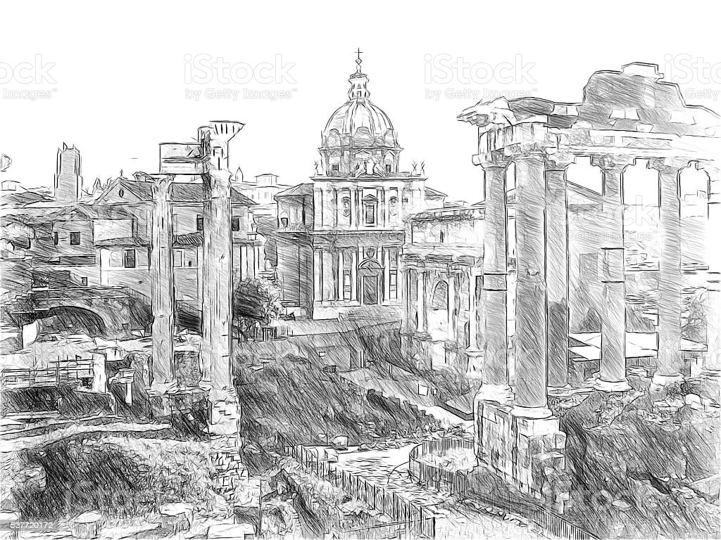 Roman ruins in Rome, Forum Romanum. Illustration in draw stock photo