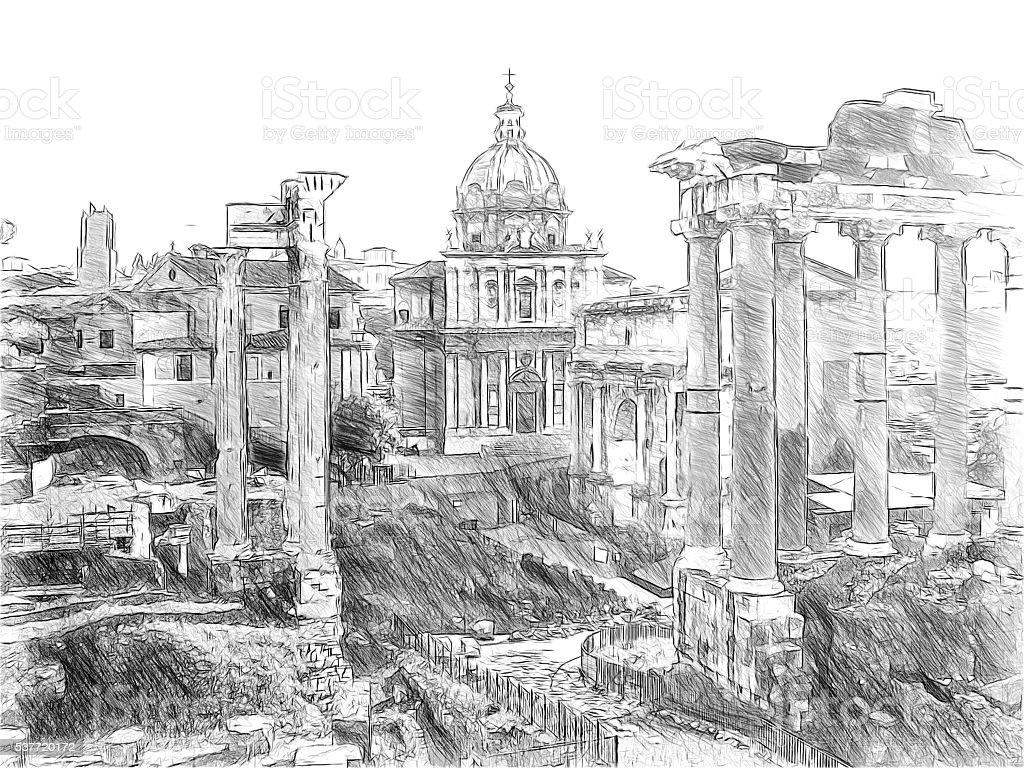 Roman ruins in Rome, Forum Romanum. Illustration in draw stock photo
