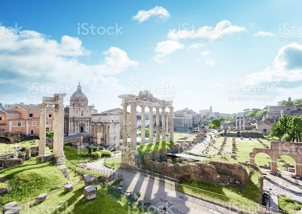 Roman ruins in Rome, Italy stock photo