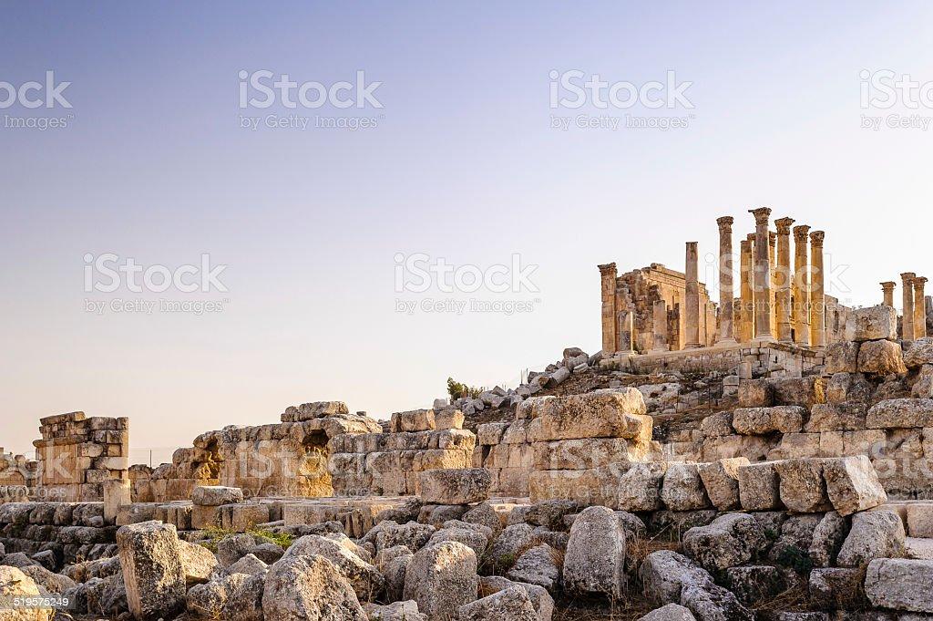 Roman ruins in the Jordanian city of Jerash, stock photo