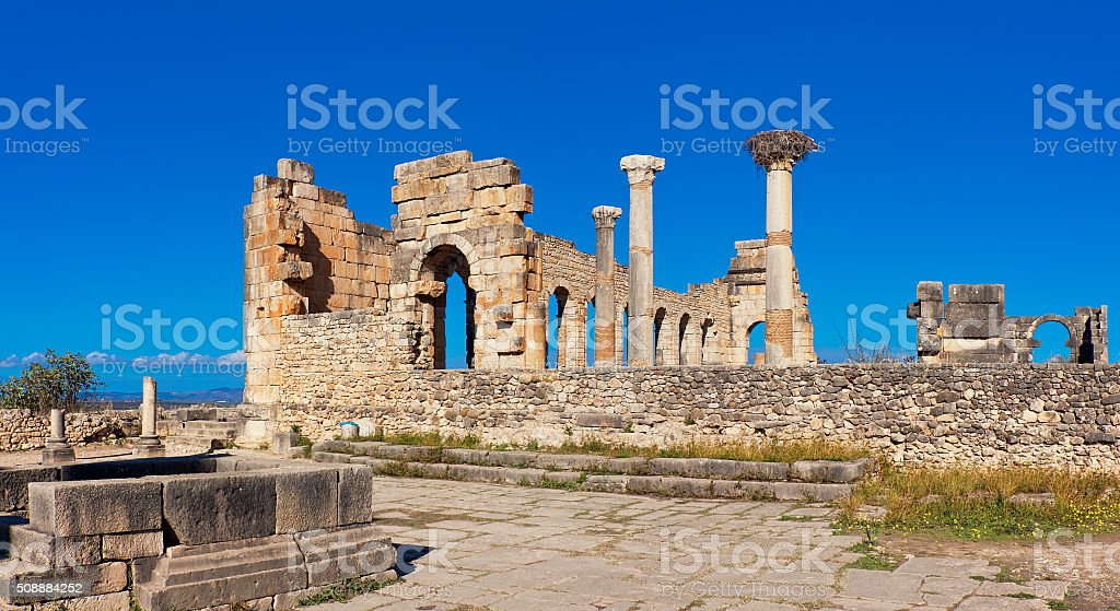 Roman ruins in Volubilis, Meknes Tafilalet, Morocco stock photo