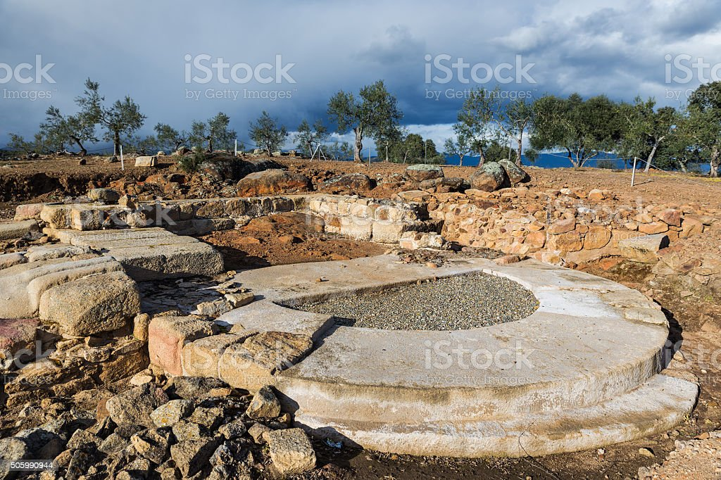 Roman ruins of Caparra stock photo