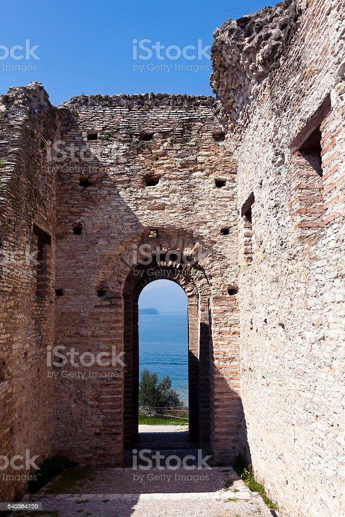 roman ruins of catullo caves on lake garda italy stock photo