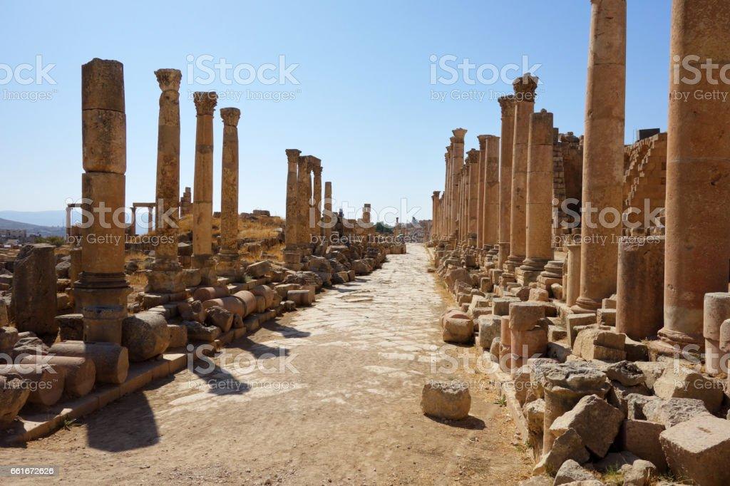 Roman ruins of Jerash stock photo