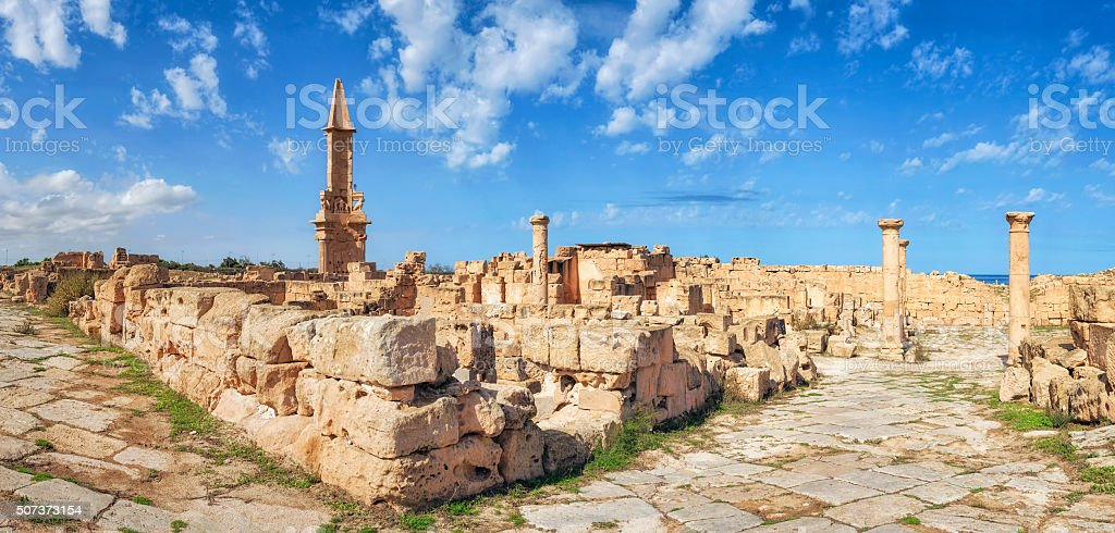 Roman ruins of Sabratha, Libya, Tripolitania stock photo