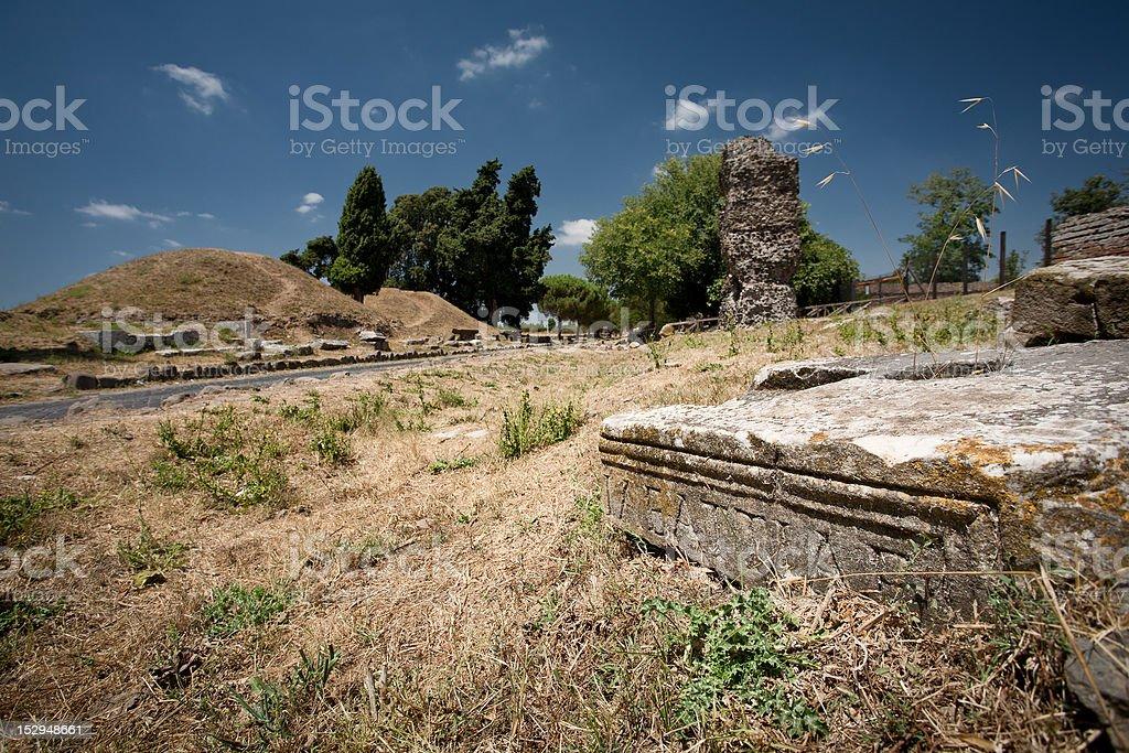 Roman Ruins on the Appian way , or Via Appia Antica stock photo