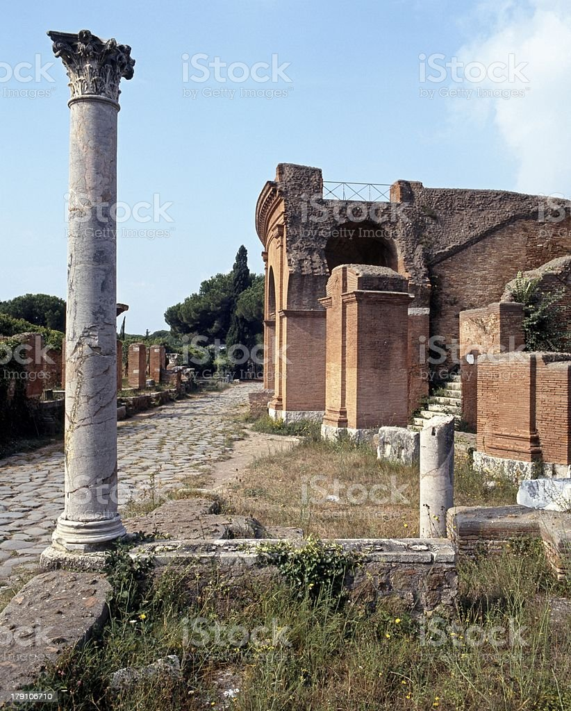Roman ruins, Ostia Antica, Rome. royalty-free stock photo