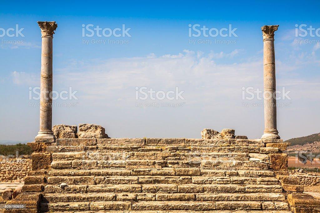 Roman ruins Sanctuaire Esculape Thuburbo Majus Tunisia stock photo