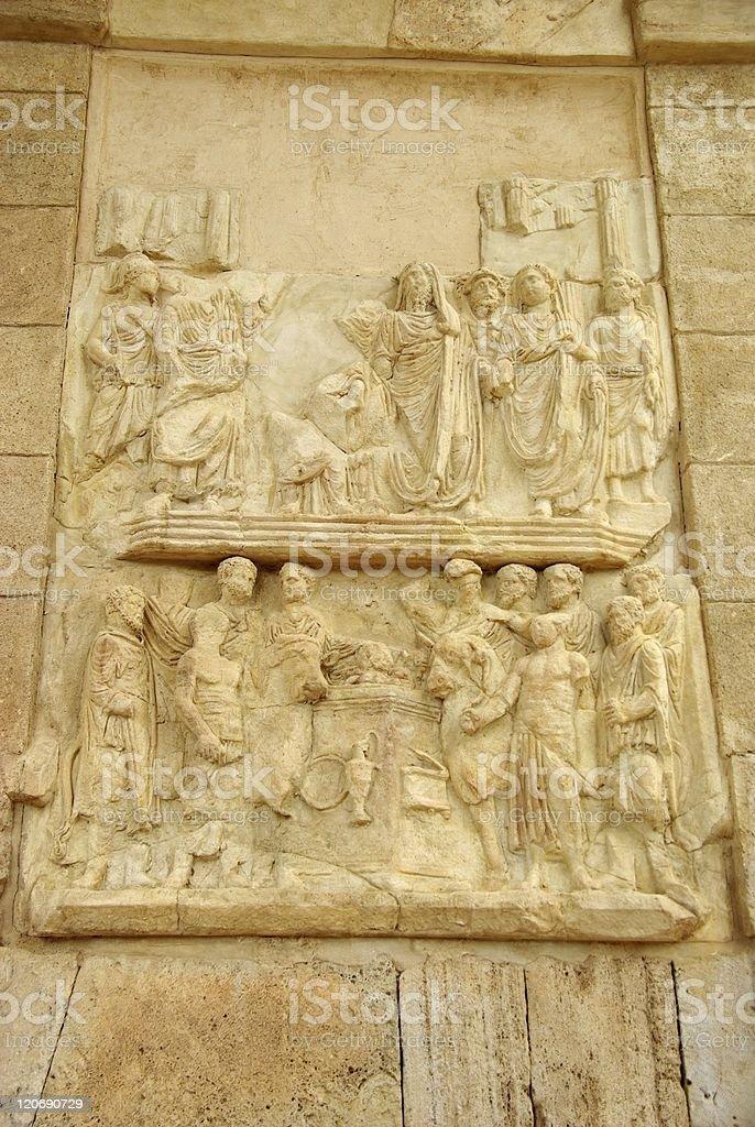 Roman sculptures, Libya stock photo