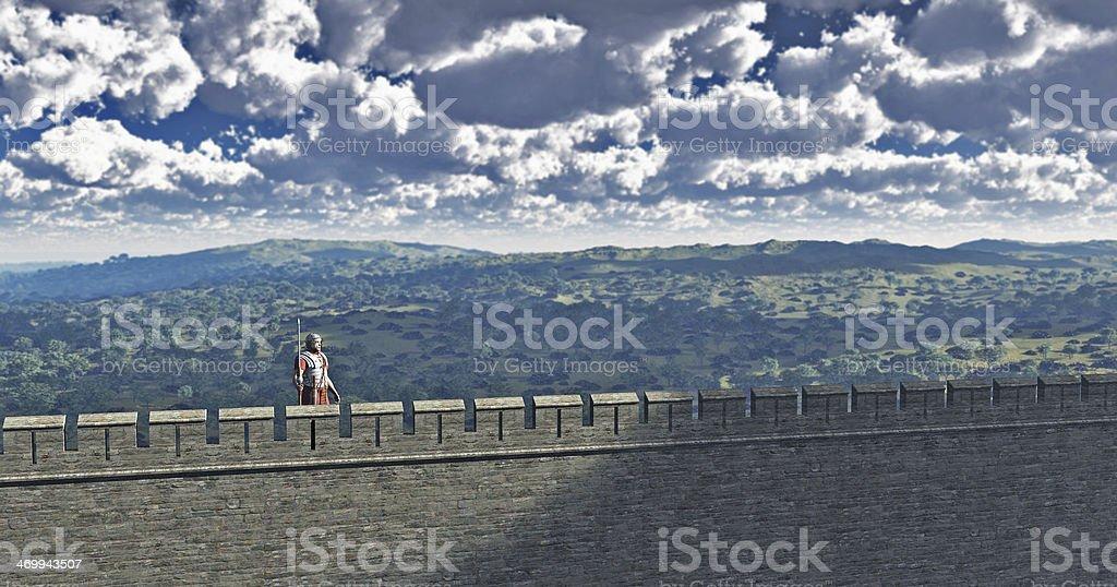 Roman Sentry on Hadrian's Wall stock photo