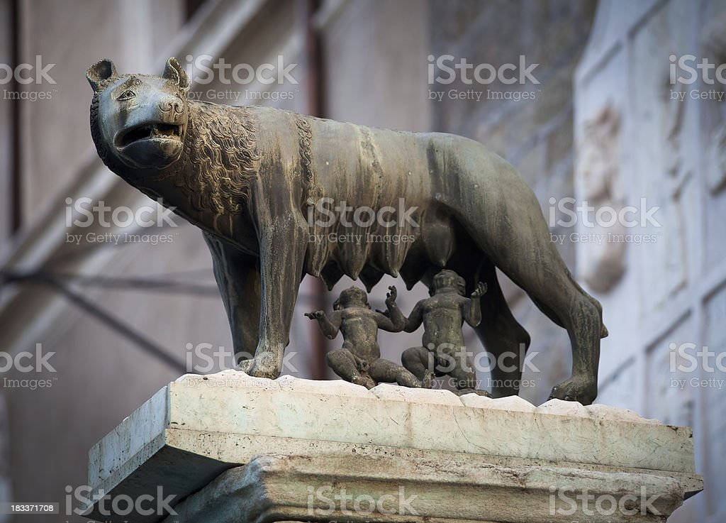 Roman She-Wolf with Romulus and Remus stock photo