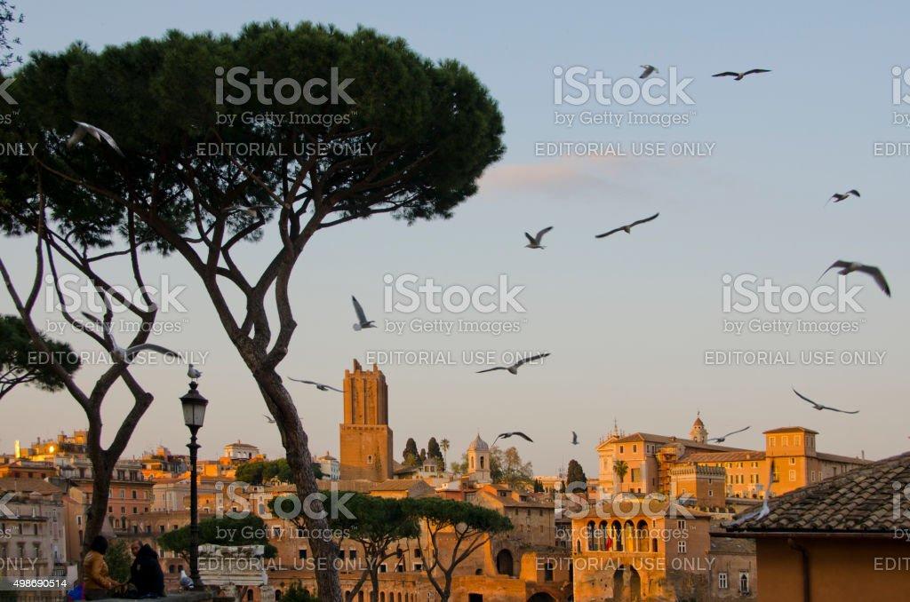Roman Skyline at Dusk stock photo