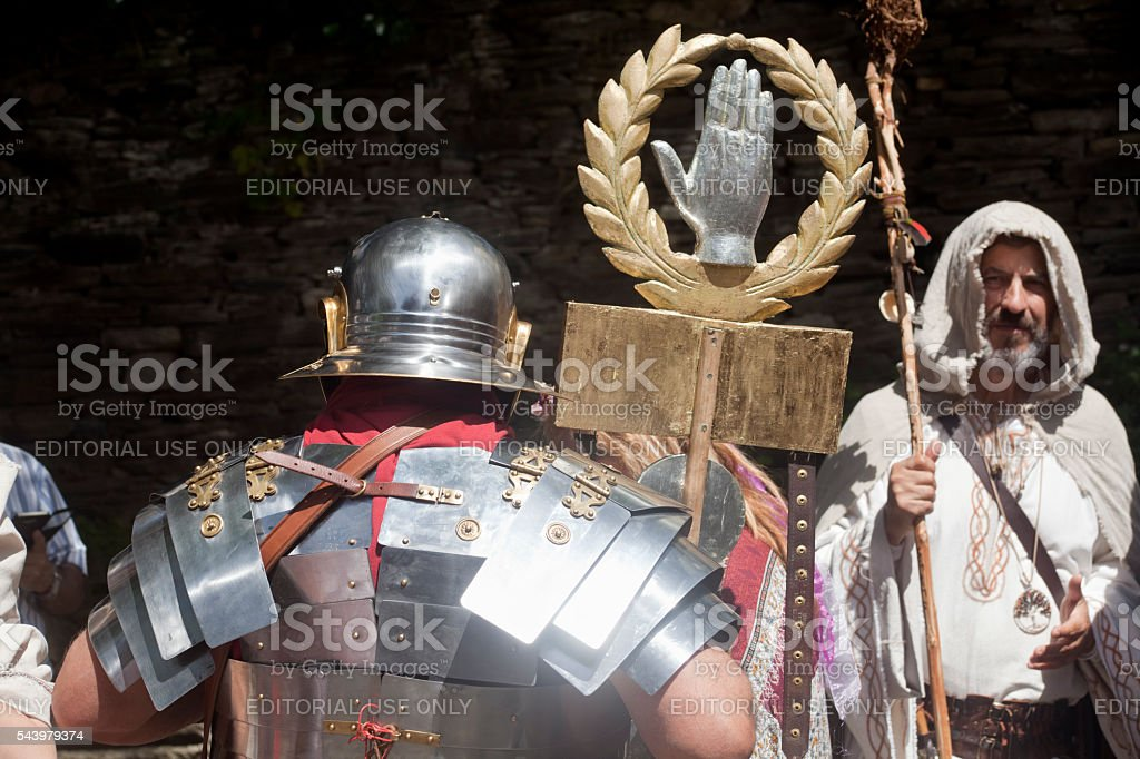 Roman soldier and druide in a traditional festival, 'Arde Lucus' stock photo