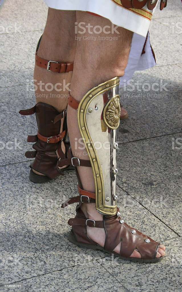 roman soldier greaves stock photo