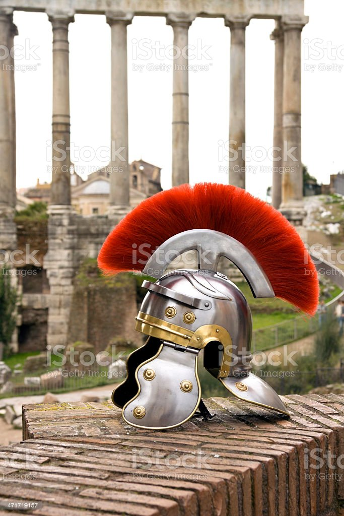 Roman soldier helmet in front of the Fori Imperiali, Rome. royalty-free stock photo