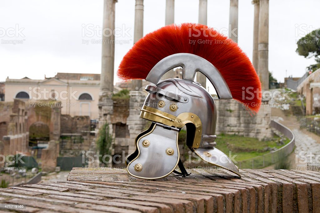 Roman soldier helmet in front of the Fori Imperiali, Rome. stock photo