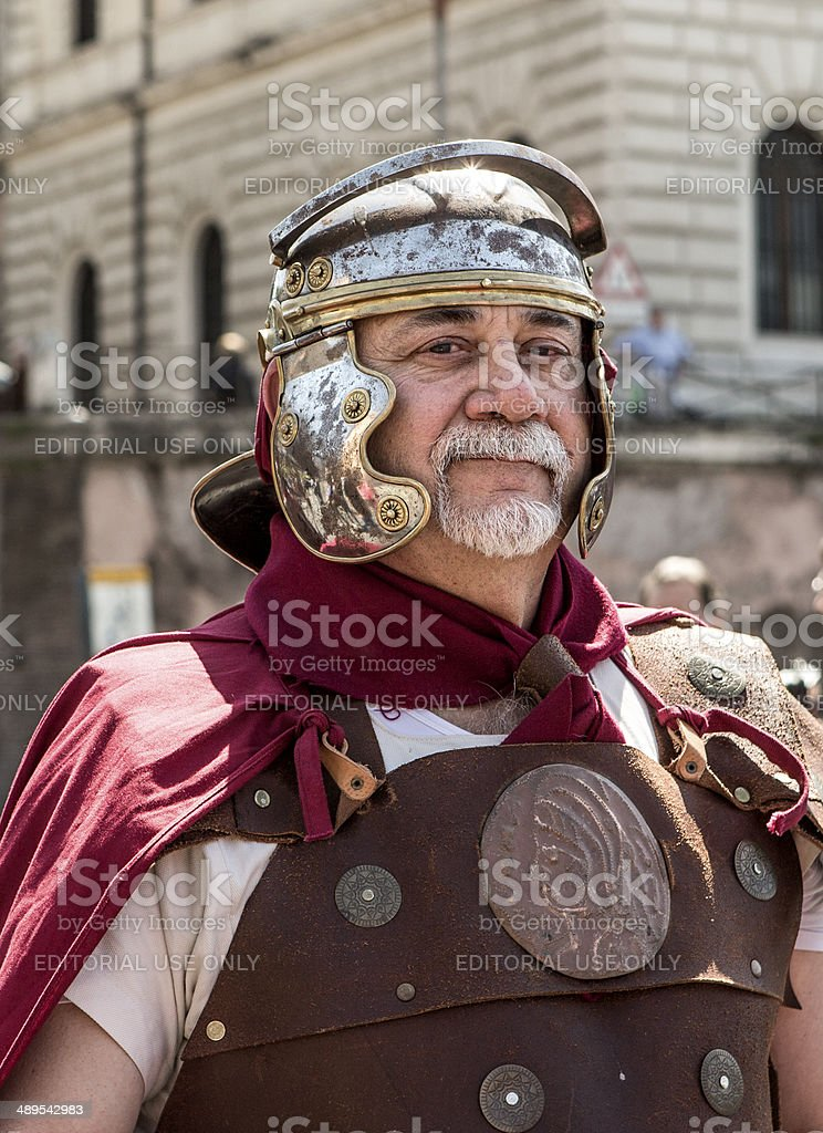 Roman soldier in a historical parade, Rome Italy stock photo